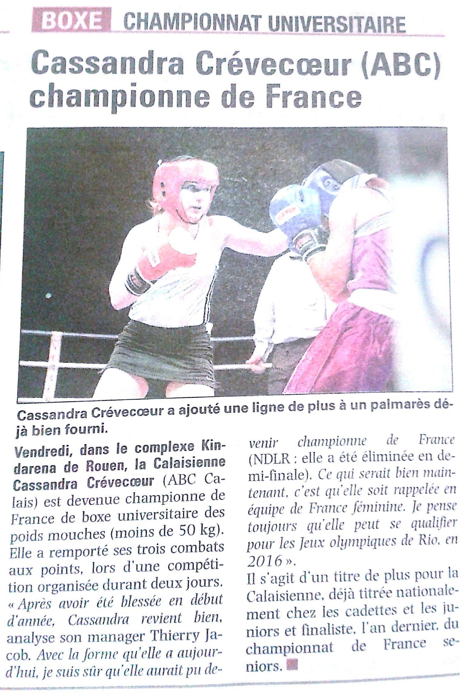 Cassandra - Championne de France