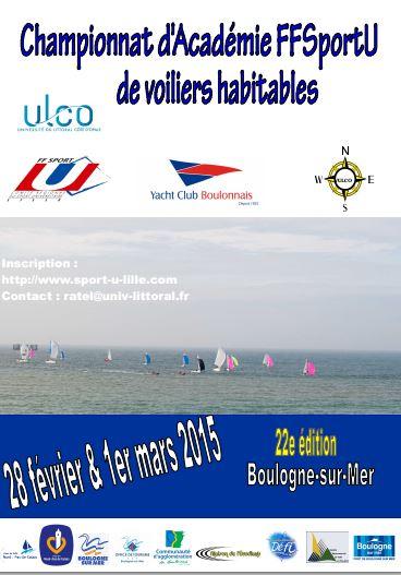 championnat d'académie FFSportU de voiliers habitables du 28 février au 1 mars 2015