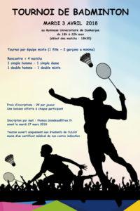 Nuit du Badminton – Dunkerque 4 avril 2018
