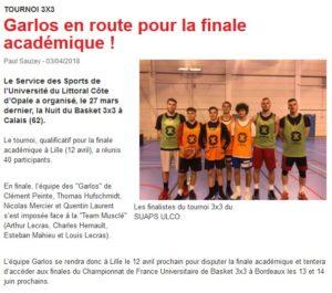 Le tournoi de 3×3 de l'Ulco sur le site de la Fédération Française de Basket Ball